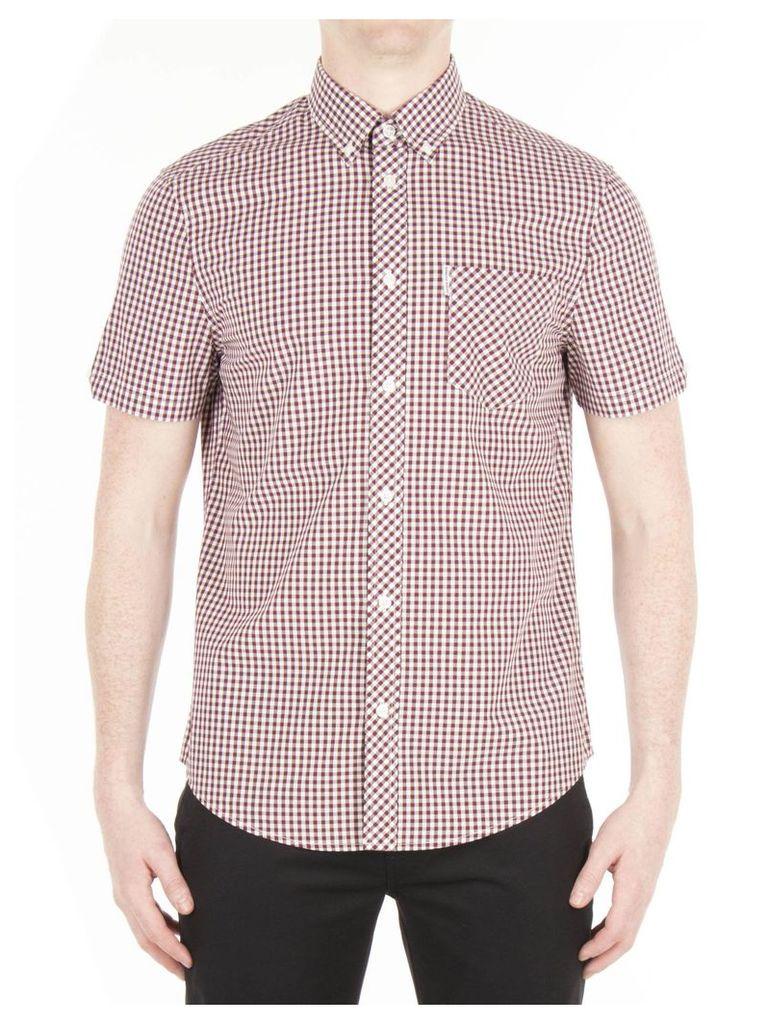 Short Sleeve Gingham Shirt Lge OXBLOOD