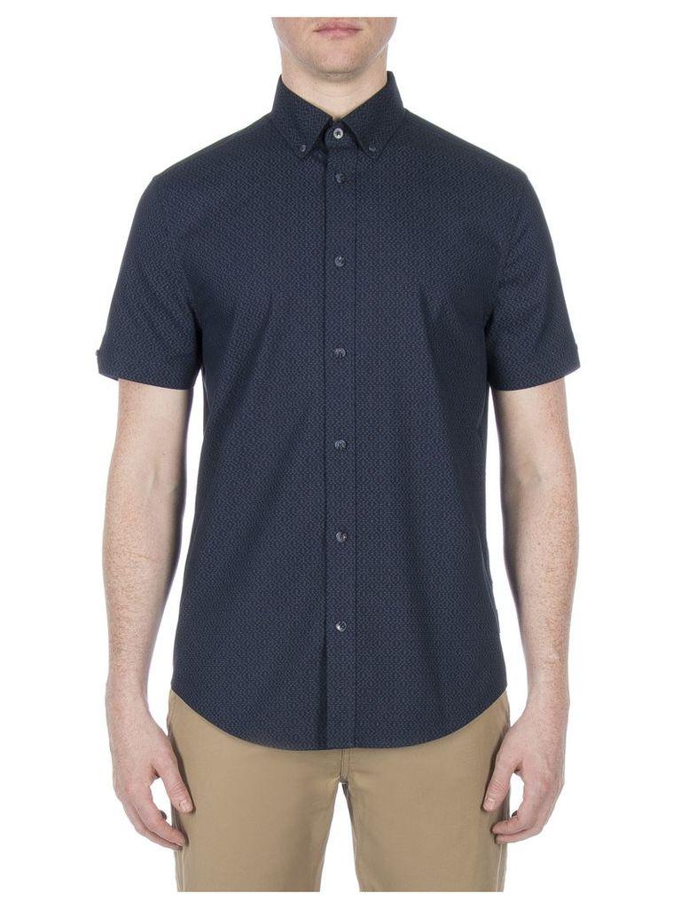 Short Sleeve Textured Dash Print Shirt Lge Navy Blazer