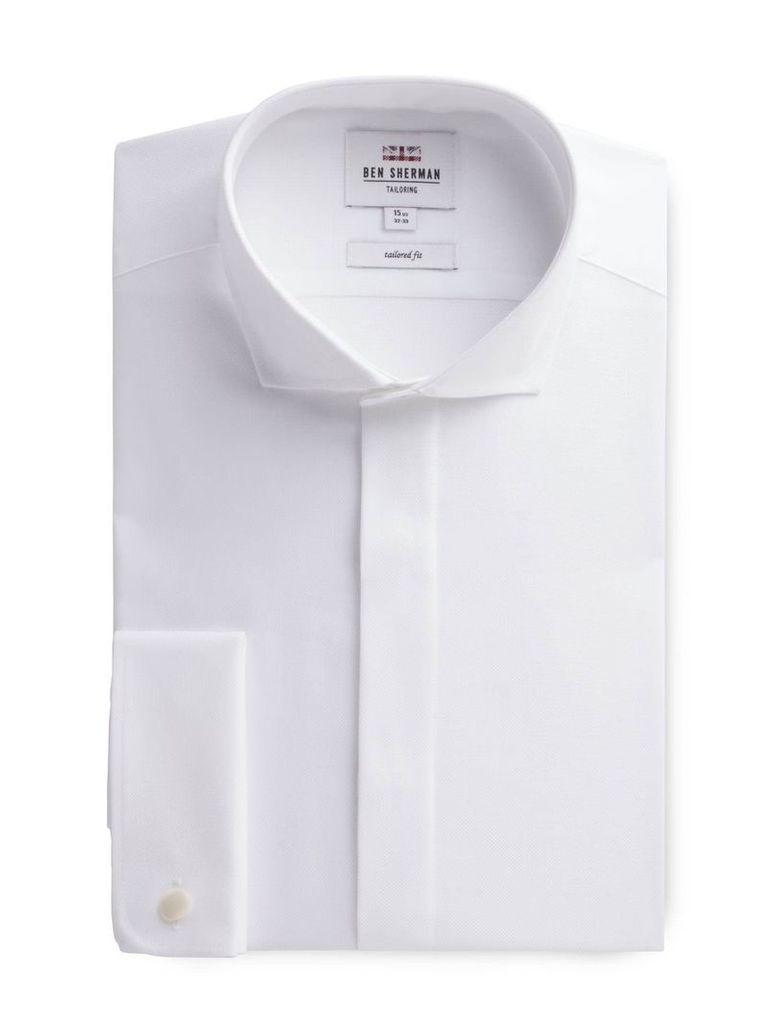 Long Sleeve White Textured Formal Shirt 15 White