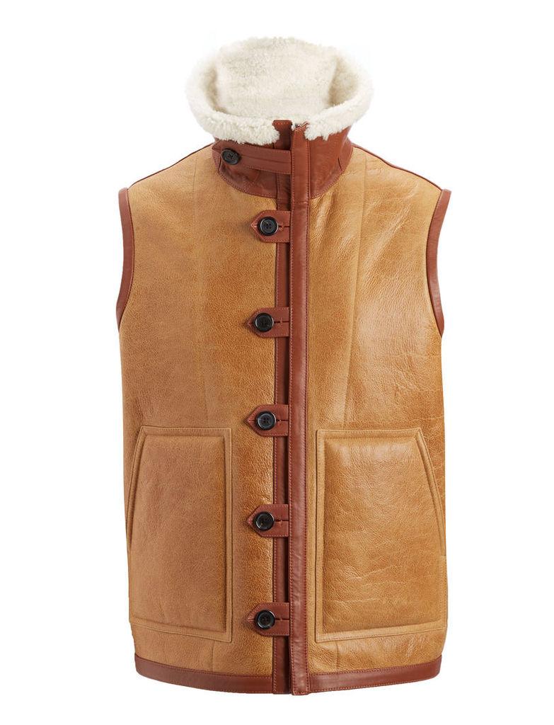 Cracked Leather Sheepskin Warfe Coat