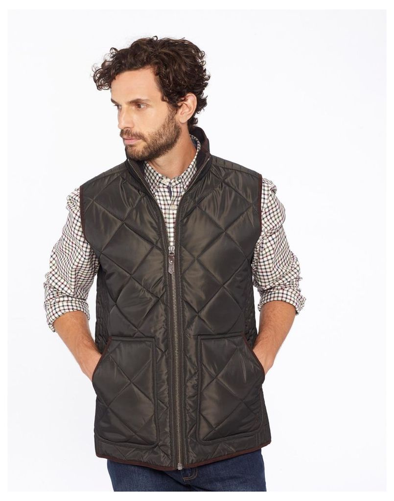 Black Olive Grove Quilted Gilet  Size S | Joules UK