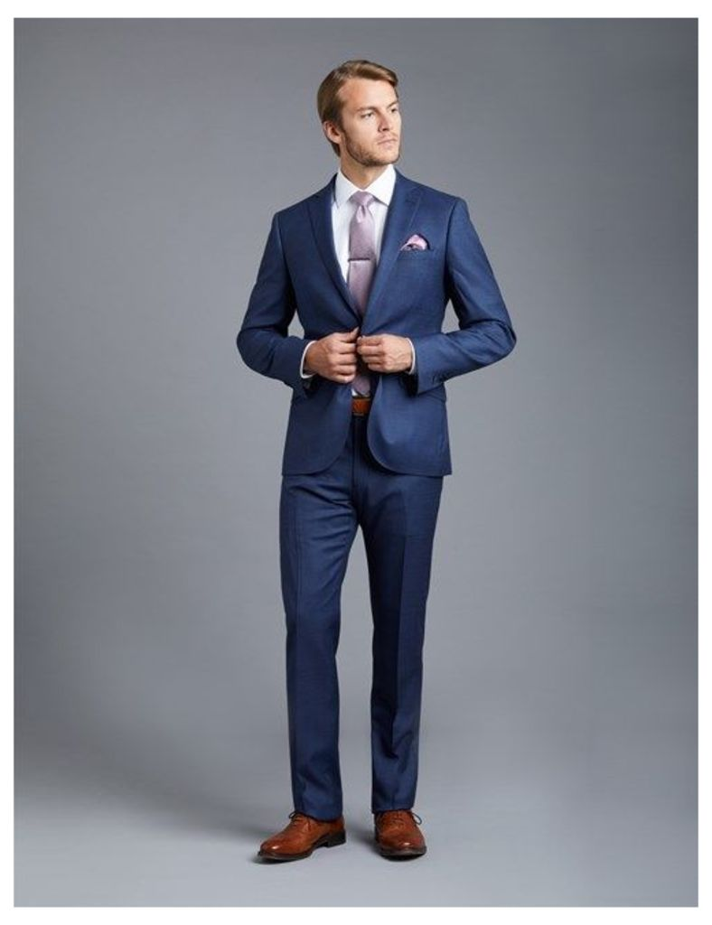 Men's Royal Blue  Prince Of Wales Tonal Check Extra Slim Fit Suit - Super 120s Wool