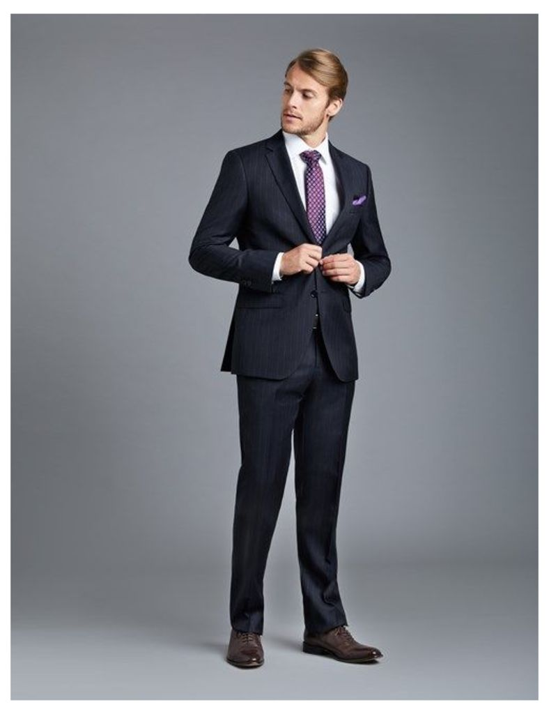 Men's Navy Chalk Stripe Slim Fit Suit - Super 120s Wool