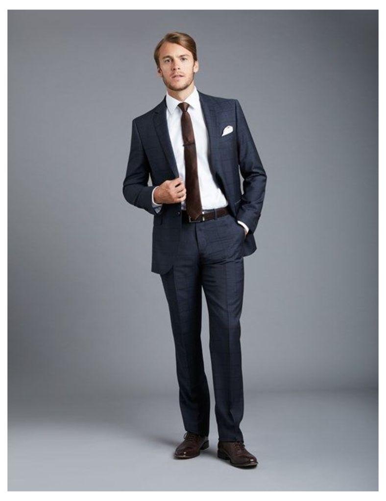 Men's Blue Textured Tonal Check Slim Fit Suit - Super 120s Wool