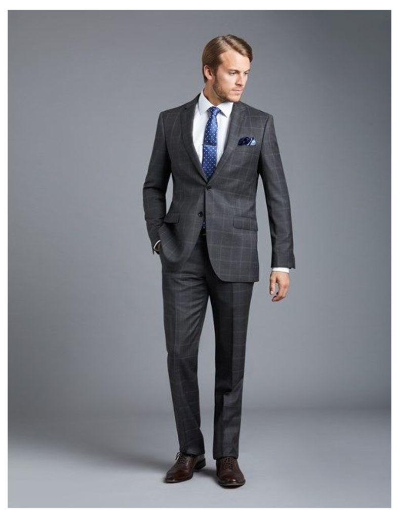 Men's Charcoal Grey Big Overcheck Slim Fit Suit - Super 120s Wool