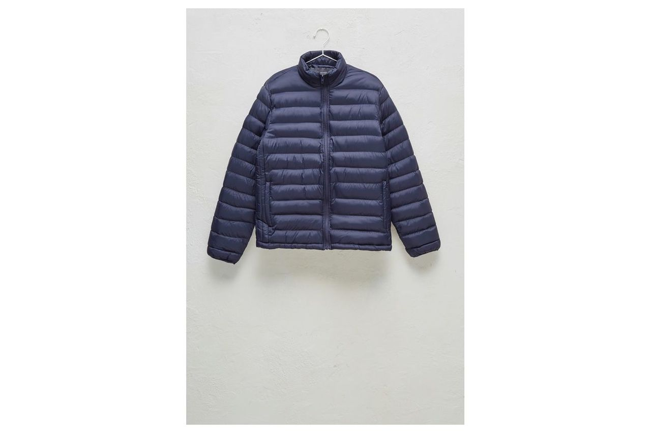 Row Funnel Neck Quilted Jacket - marine