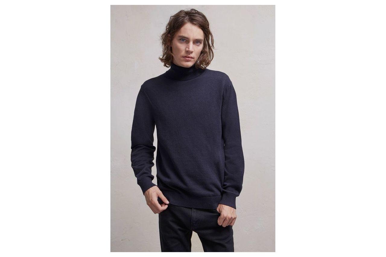 Portrait Wool Roll Neck Jumper - marine blue