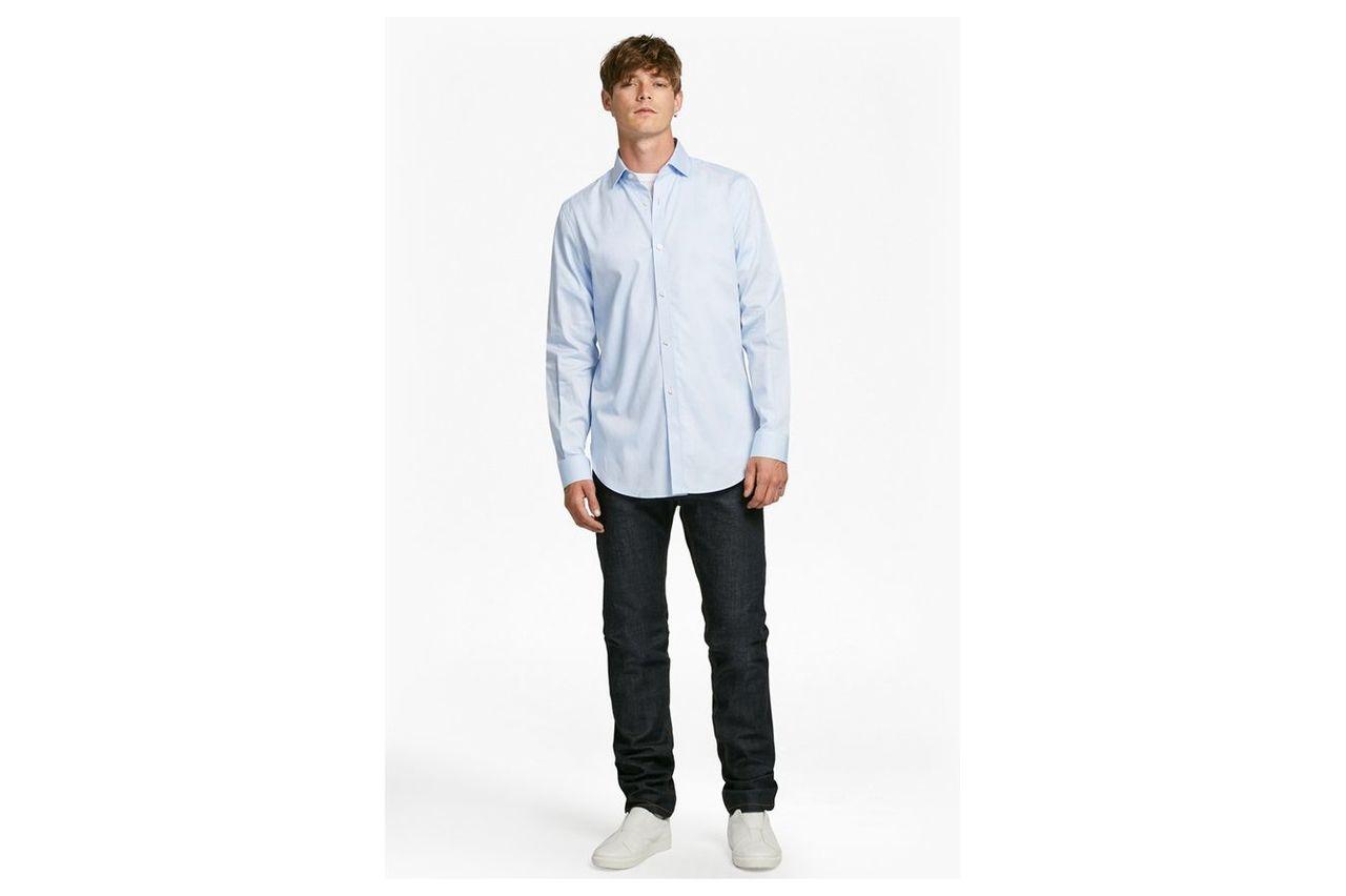 Formal Cotton Cutaway Collar Shirt - blue oxford