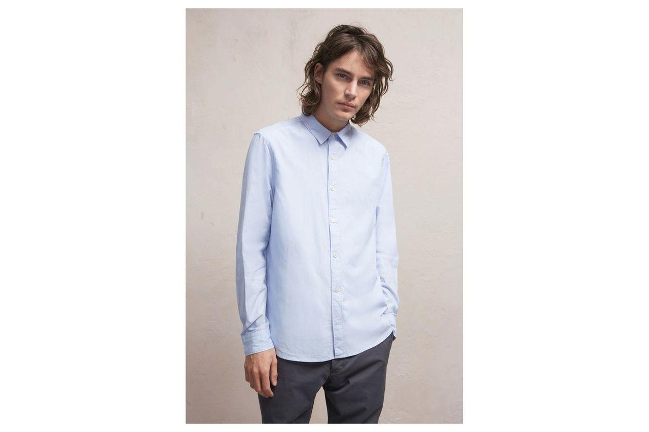 Attic Peach Stripe Shirt - pale blue pin stripe