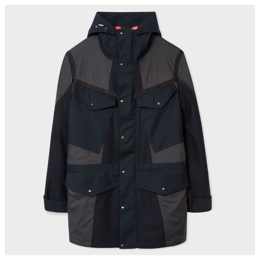 Men's Navy And Grey Technical Wool Parka