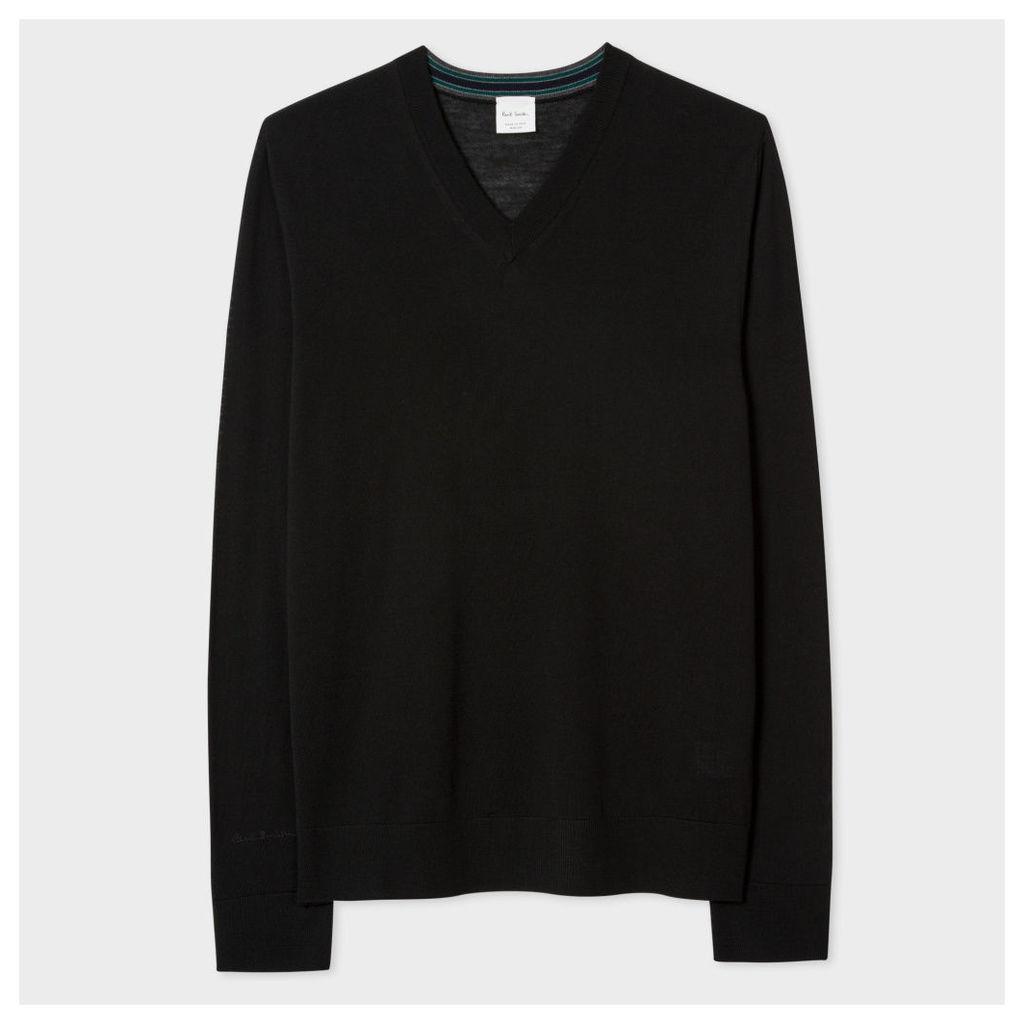 Men's Black Merino Wool V-Neck Sweater