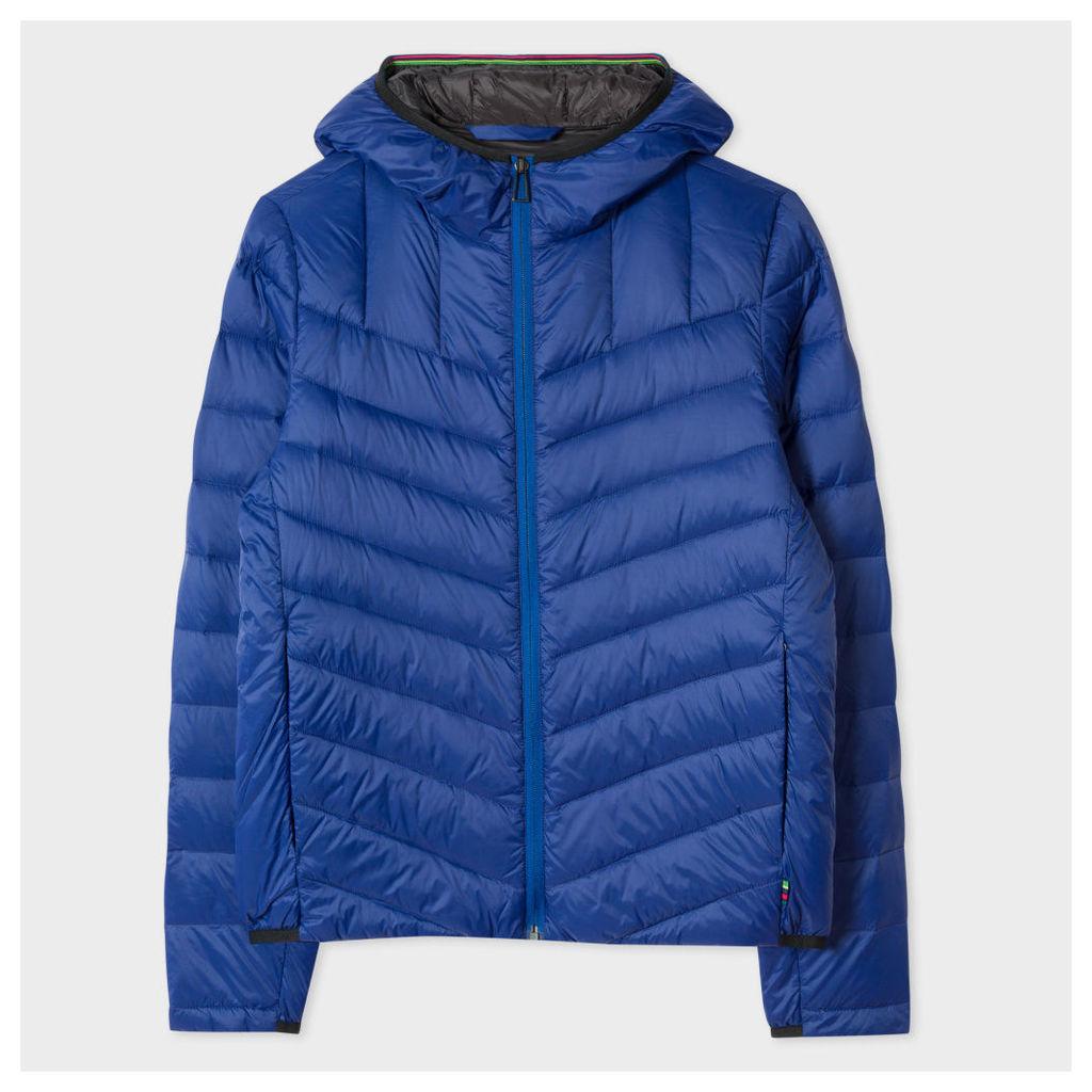 Men's Lightweight Blue Down-Filled Hooded Jacket