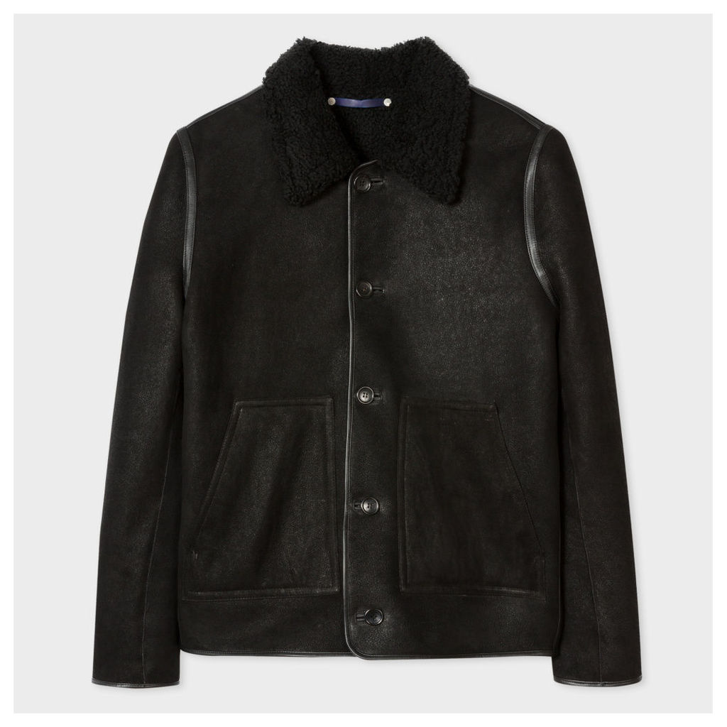 Men's Reversible Black Shearling Jacket