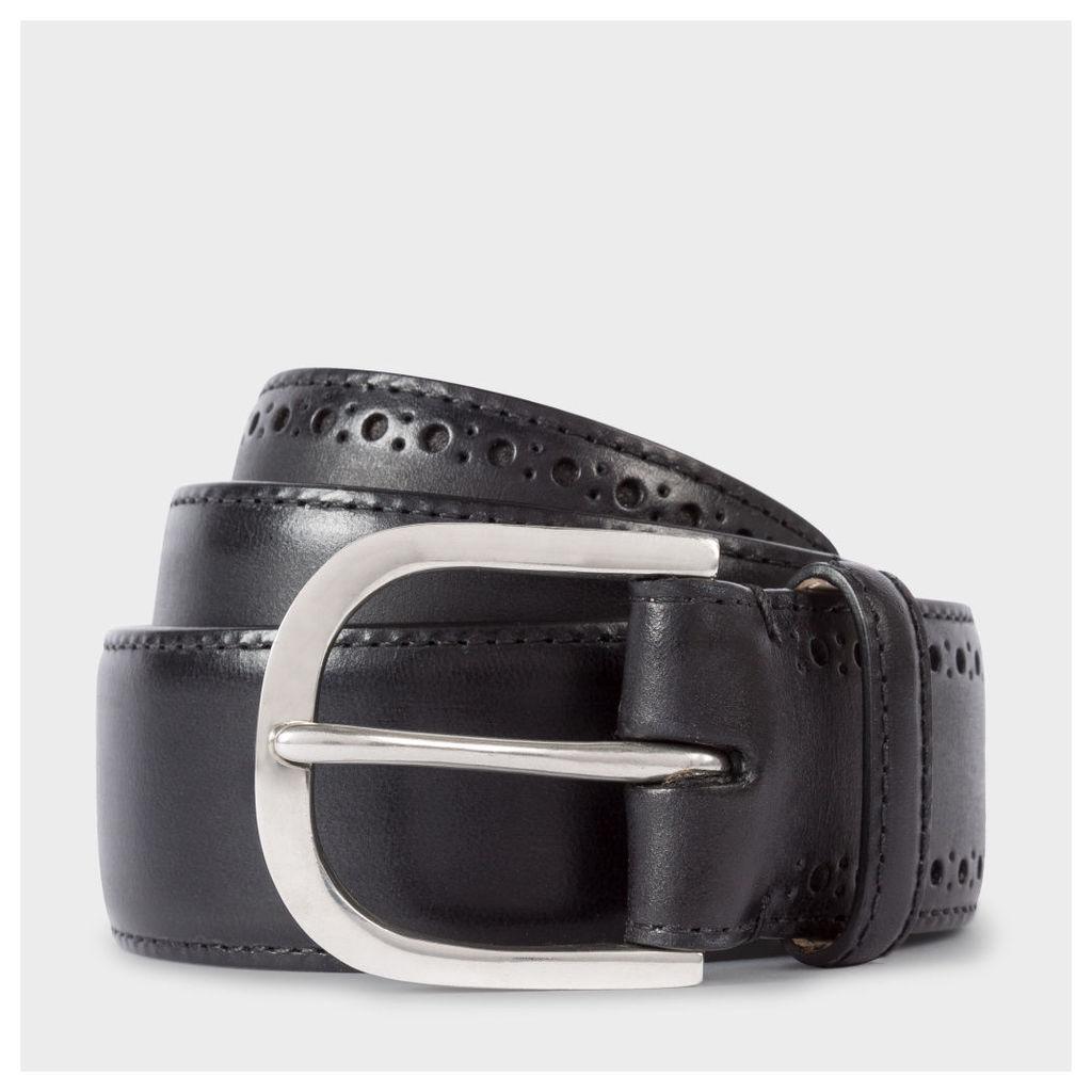 Men's Black Leather Brogue Belt