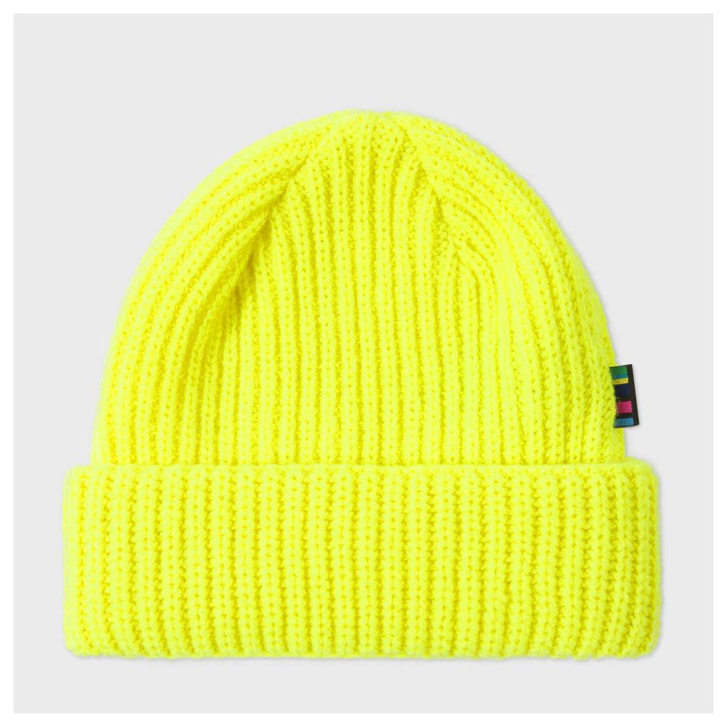 Men's Neon Yellow Wool Beanie Hat