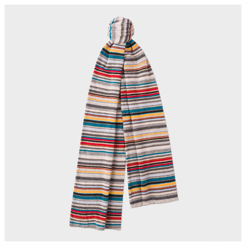 Men's Grey Signature Stripe Wool-Cashmere Scarf