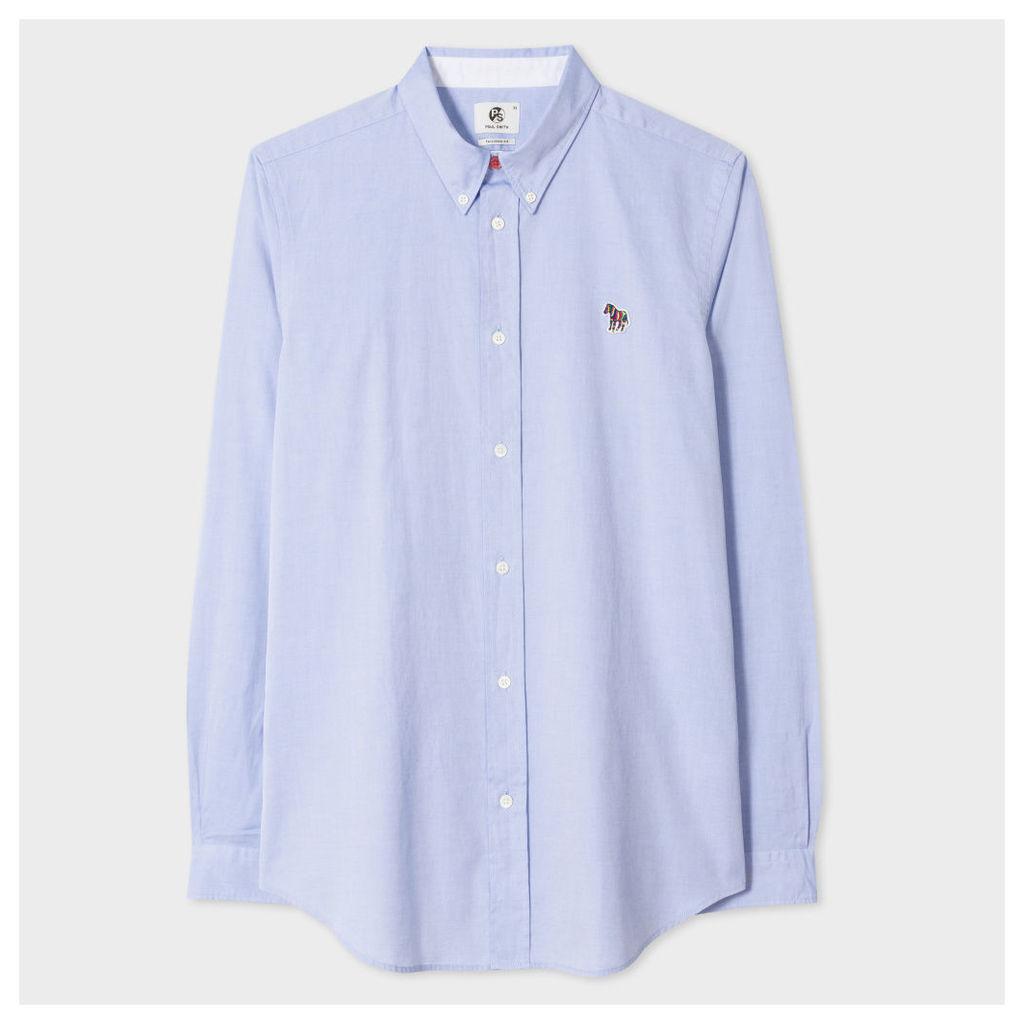 Men's Tailored-Fit Sky Blue Cotton Shirt With Zebra Motif
