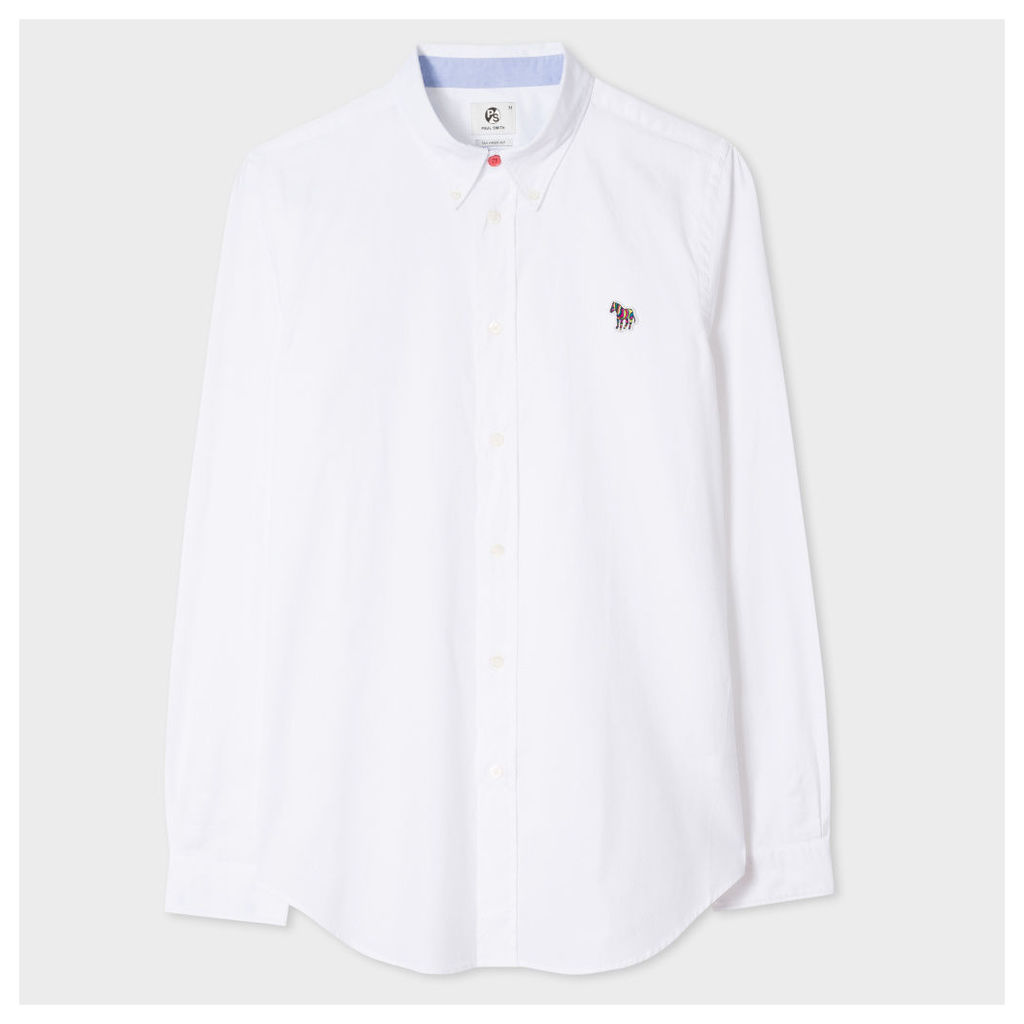 Men's Tailored-Fit White Cotton Shirt With Zebra Motif