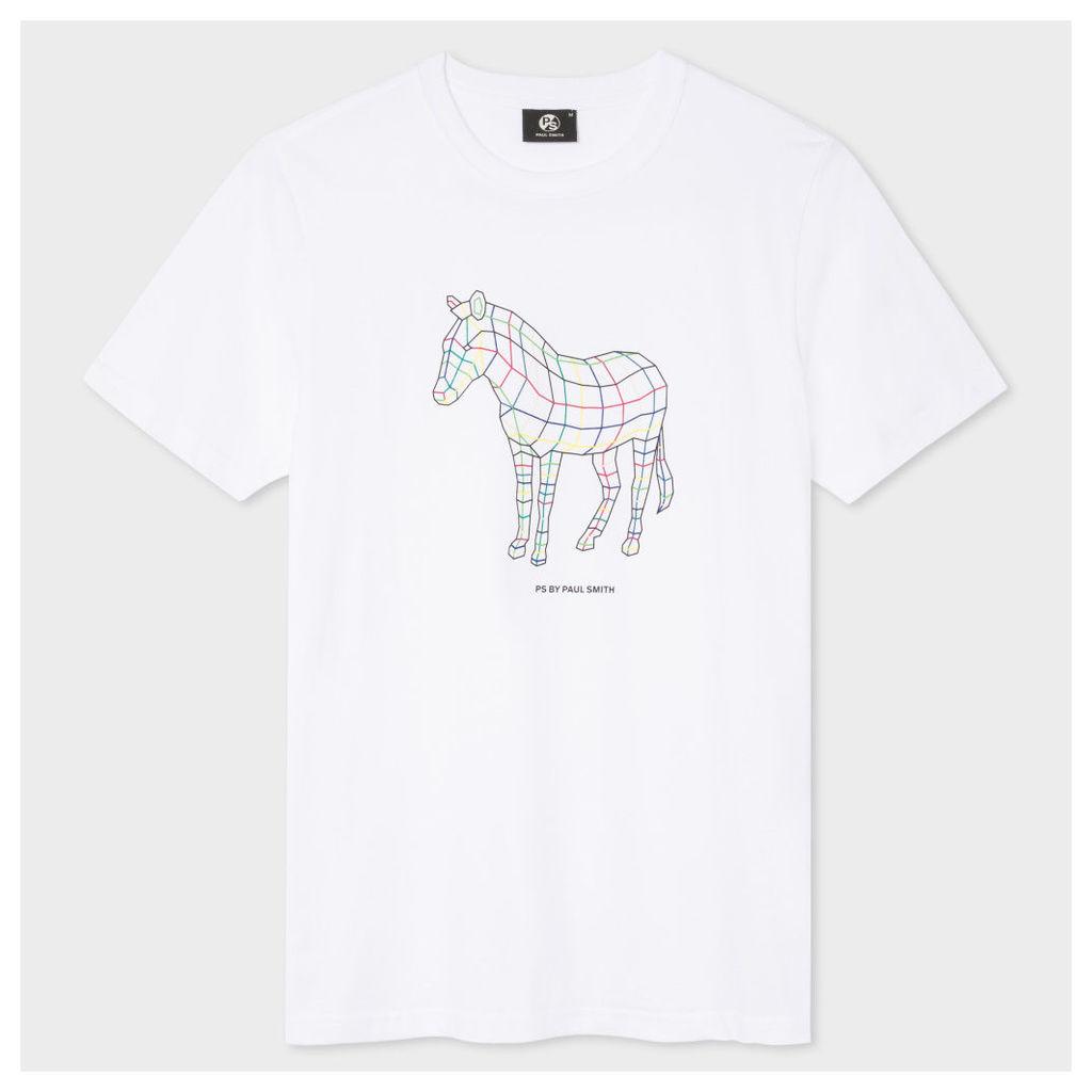 Men's Slim-Fit White 'Polygon Zebra' Print T-Shirt