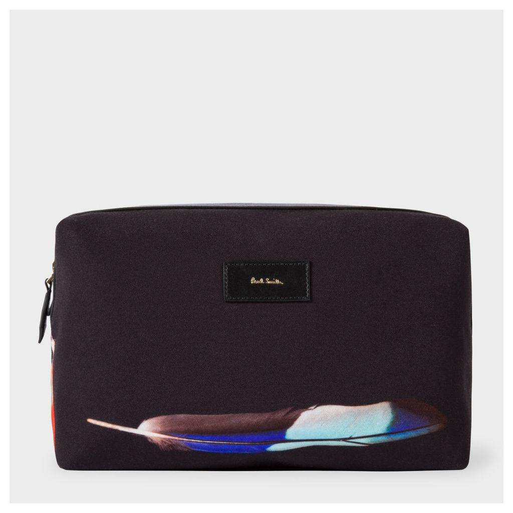 Men's Canvas 'Feather' Print Wash Bag