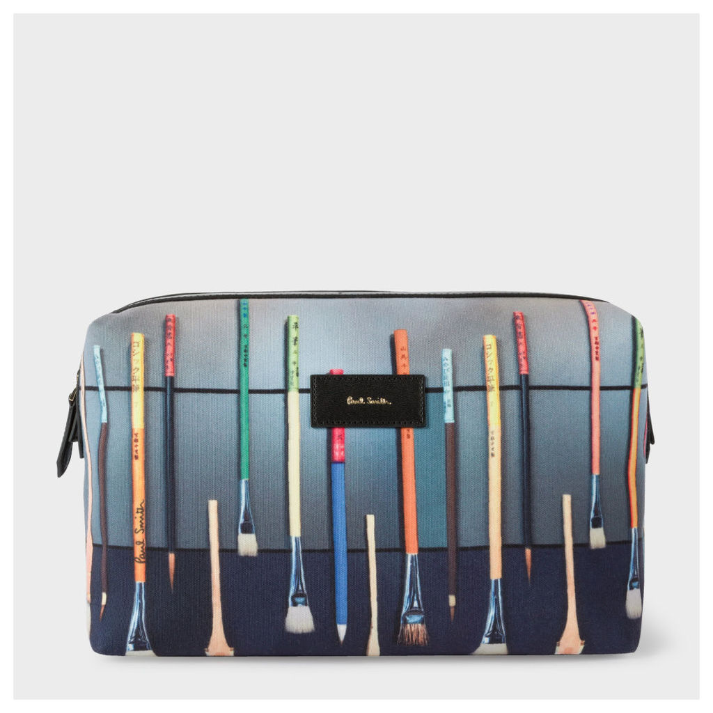 Men's Canvas 'Paint Brush' Print Wash Bag