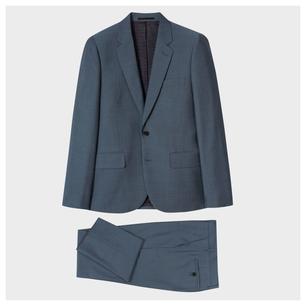 The Soho - Men's Tailored-Fit Slate Blue Wool-Mohair Suit