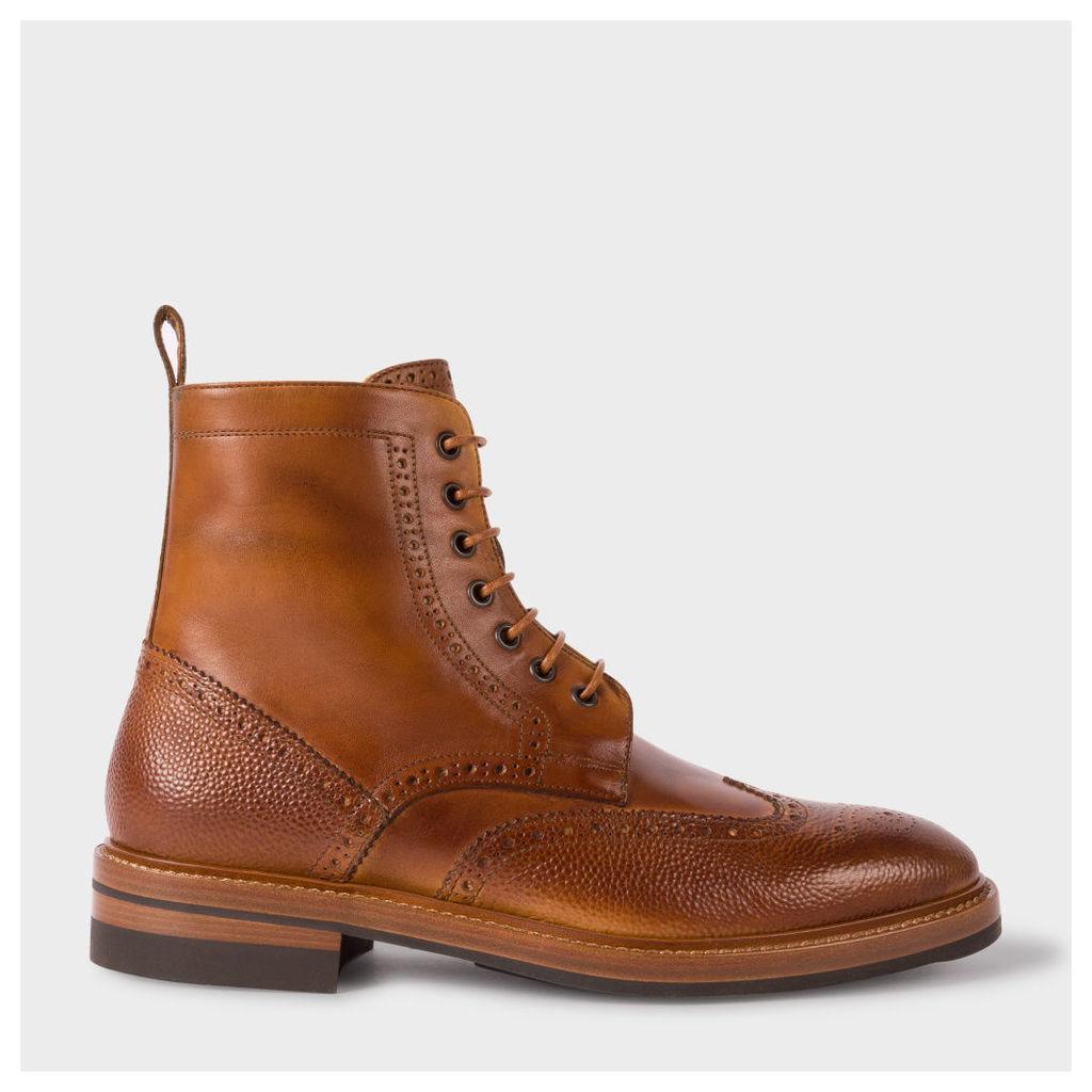 Men's Tan Calf Leather 'Raven' Brogue Boots