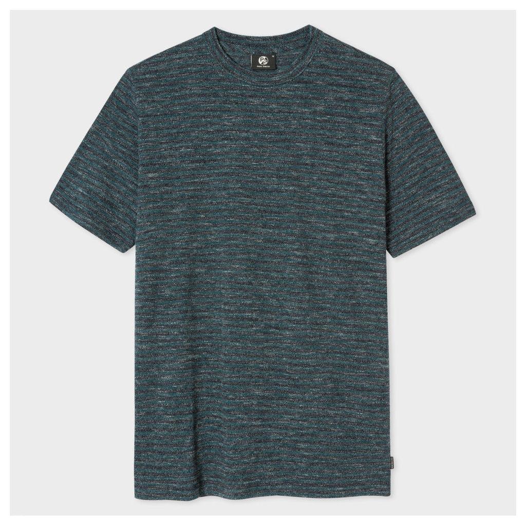 Men's Black And Petrol Static-Stripe Cotton T-Shirt
