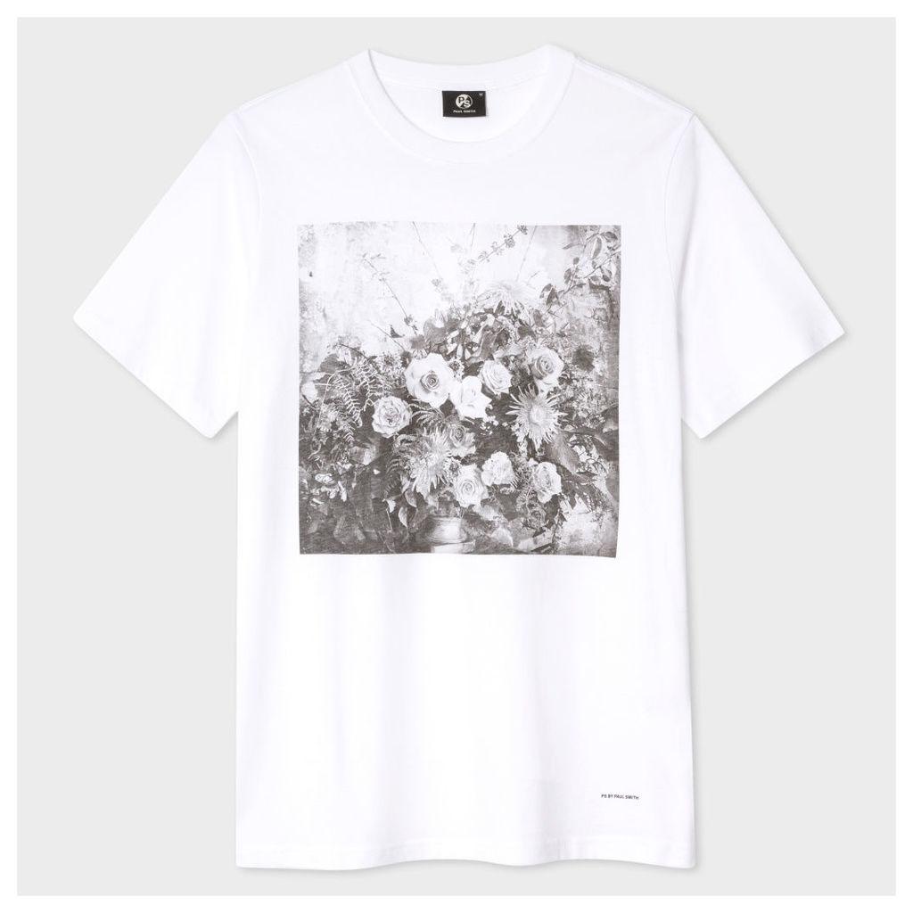 Men's Slim-Fit White 'Flowers' Print Cotton T-Shirt