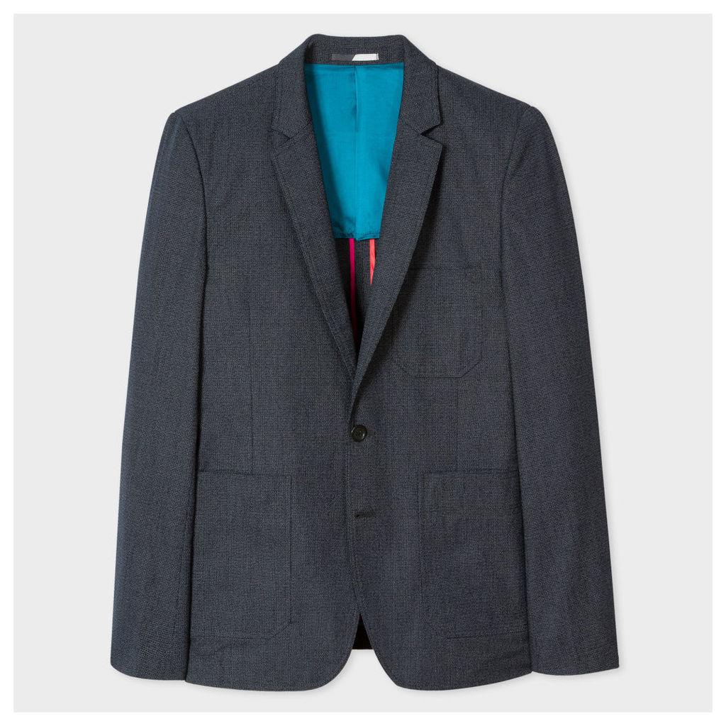Men's Navy Textured Cotton-Blend Patch Pocket Blazer