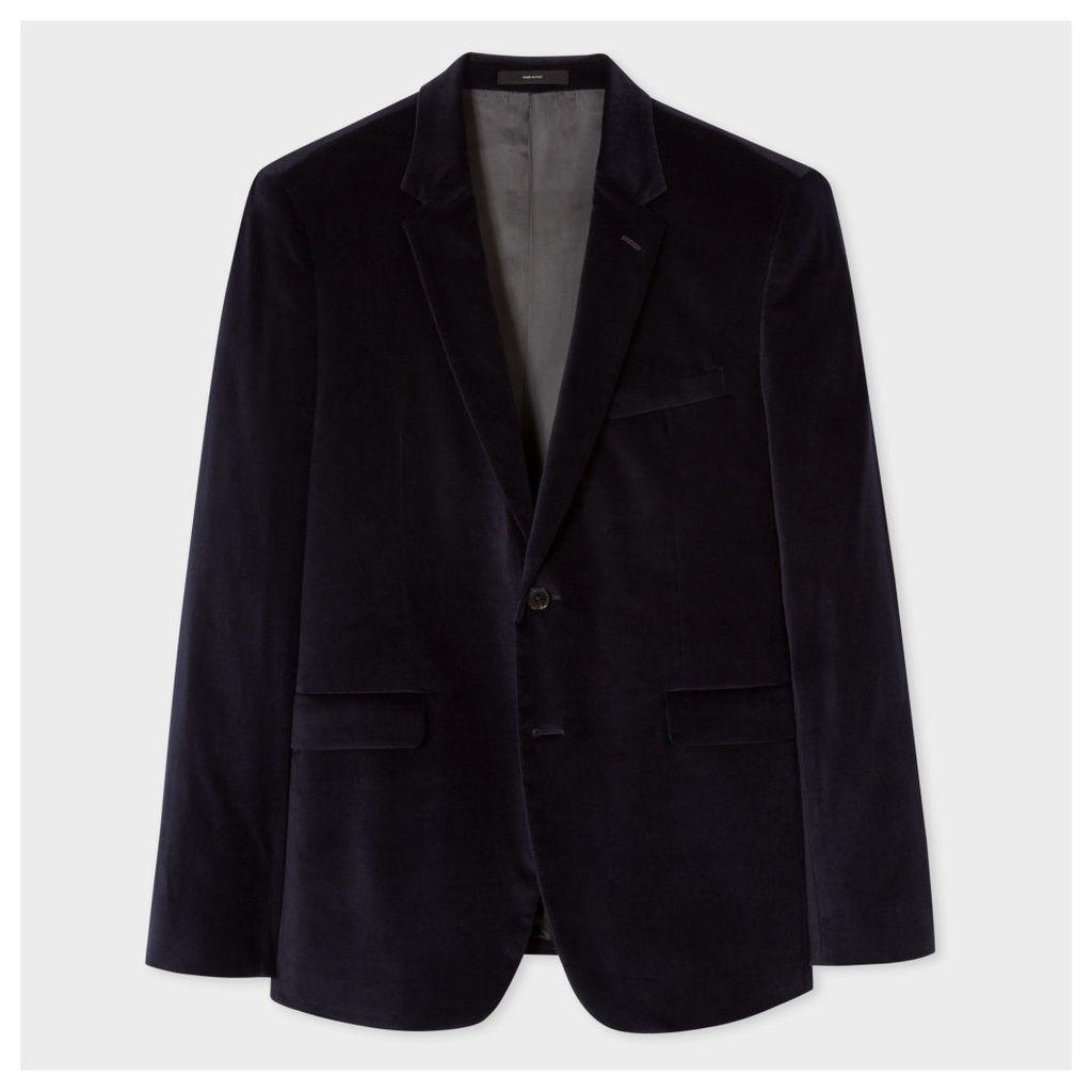 Men's Slim-Fit Navy Velvet Blazer