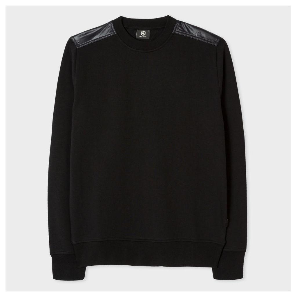 Men's Black Cotton Sweatshirt With Technical Panels