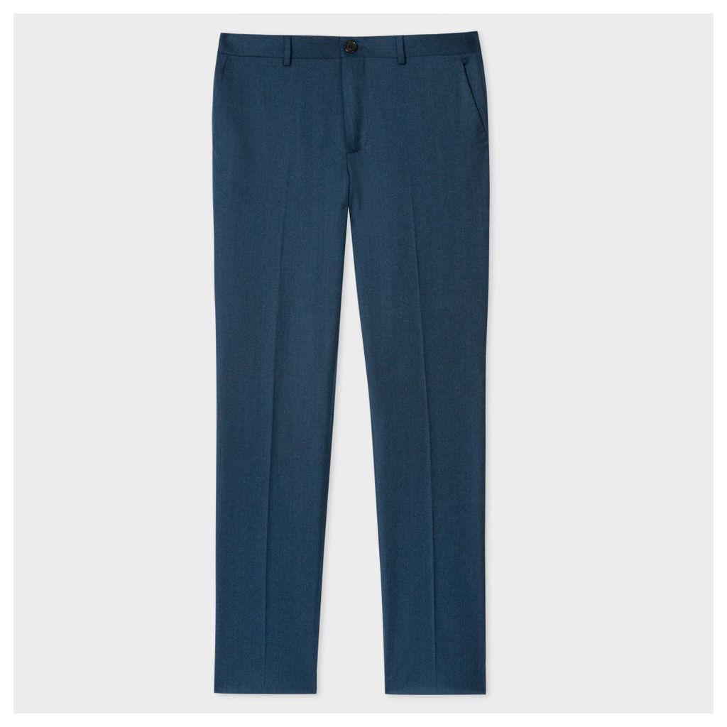 Men's Mid-Fit Dark Blue Marl Wool Trousers