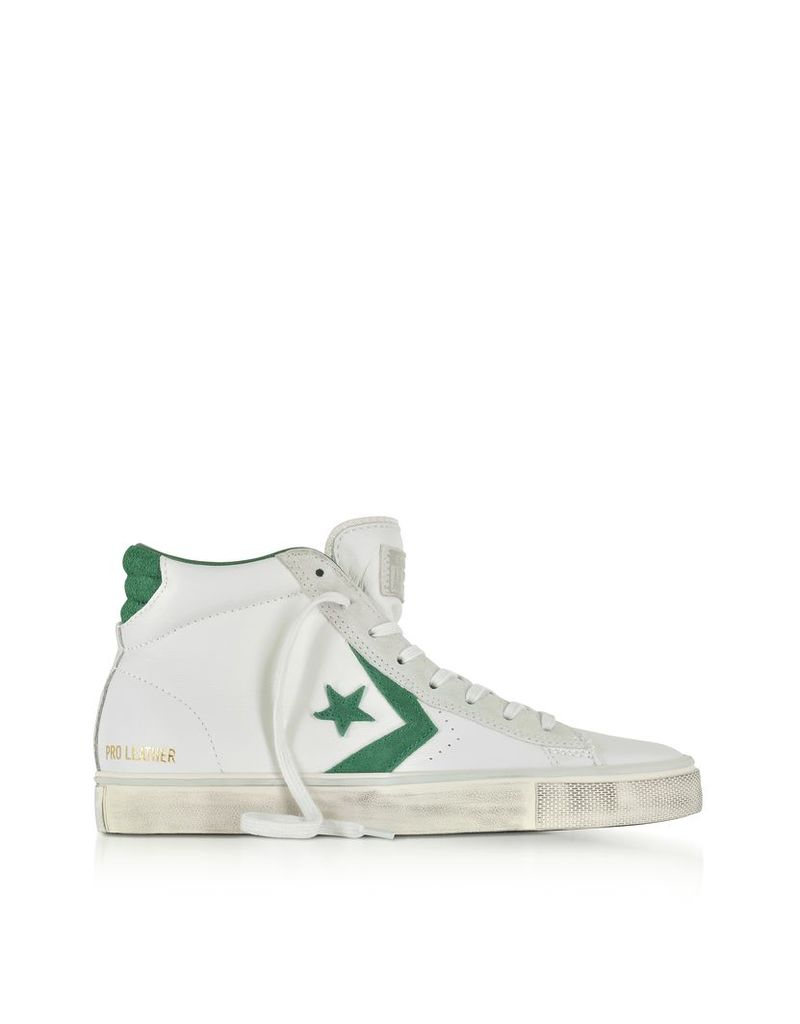 Converse Limited Edition Shoes, Pro Leather Vulc Mid Distressed White Leather and Pine Green Suede Sneakers