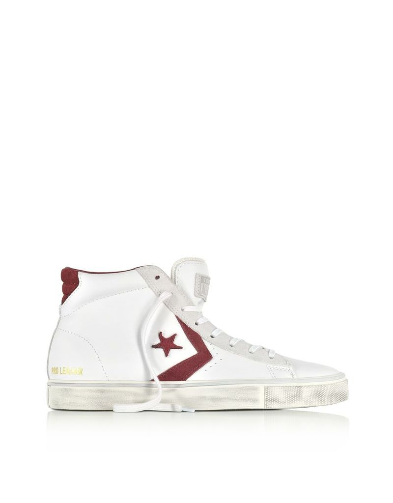 Converse Limited Edition Shoes, Pro Leather Vulc Mid Distressed White Leather and Burgundy Suede Sneakers