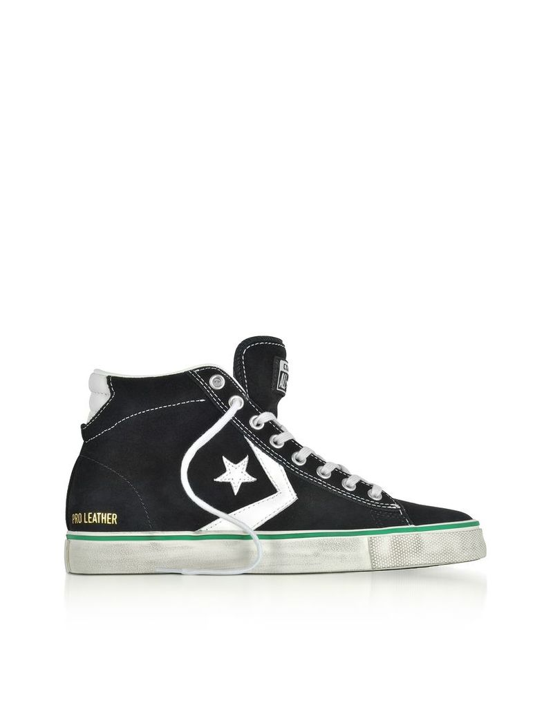 Converse Limited Edition Shoes, Pro Leather Vulc Mid Distressed Black Suede Sneakers