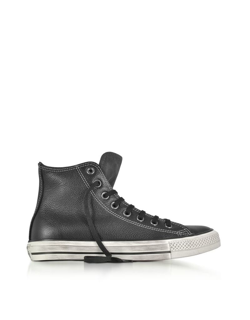 Converse Limited Edition Shoes, Chuck Taylor All Star High Black Leather and Suede Sneakers