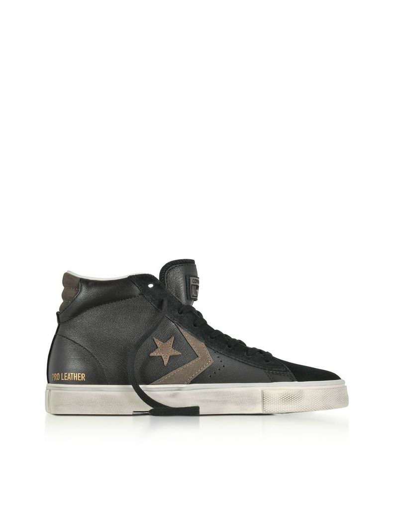 Converse Limited Edition Shoes, Pro Leather Vulc Mid Distressed Black Leather Sneakers