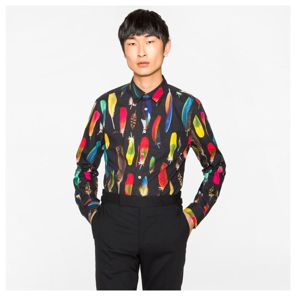 Men's Slim-Fit Black 'Feather' Print Cotton Shirt