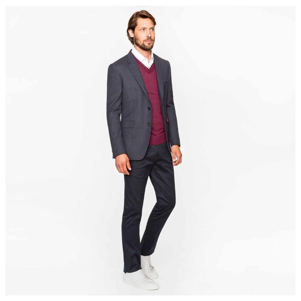 Men's Slim-Fit Two-Tone Navy And Grey Textured-Wool Blazer