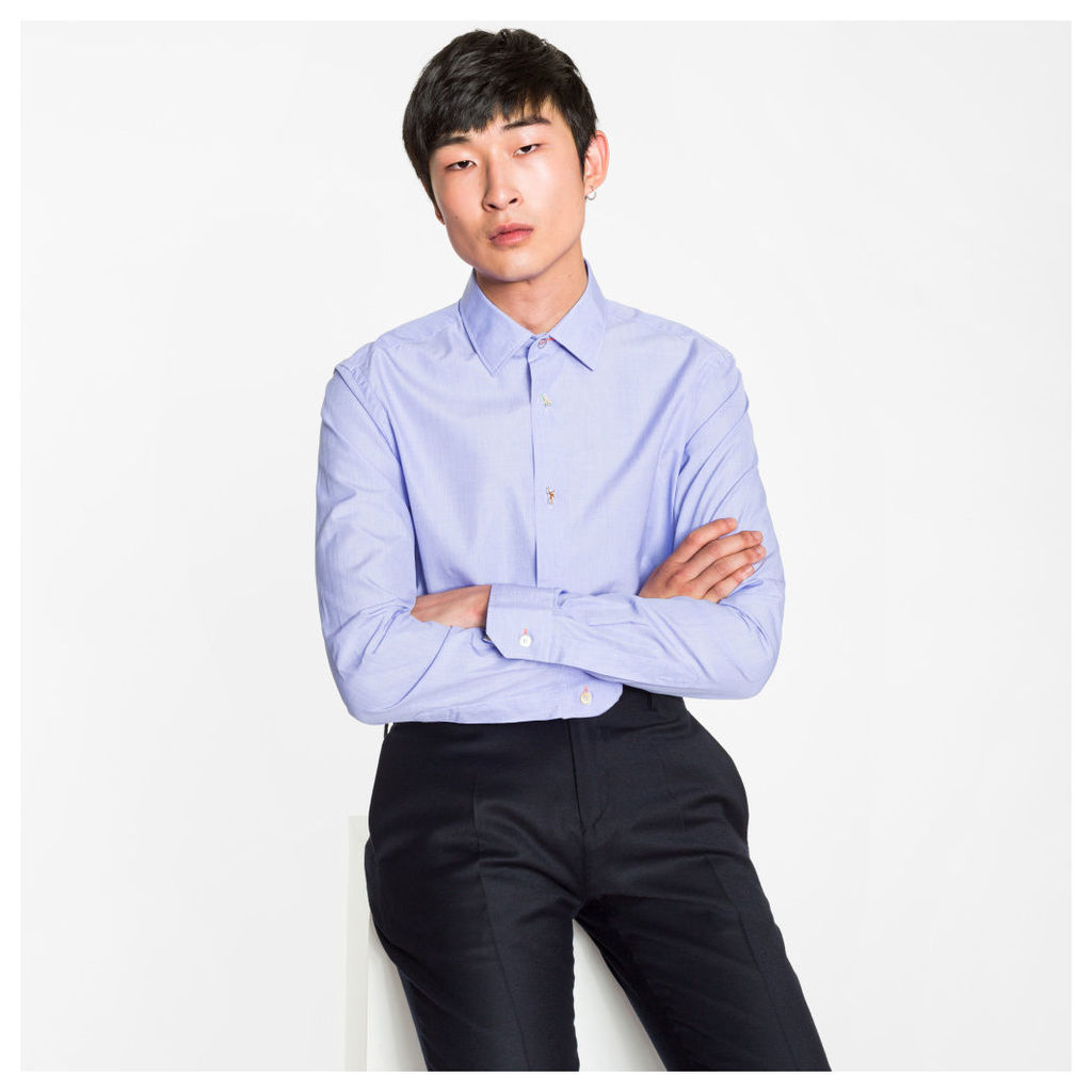 Men's Tailored-Fit Sky Blue Charm-Button Contrast Cuff Shirt