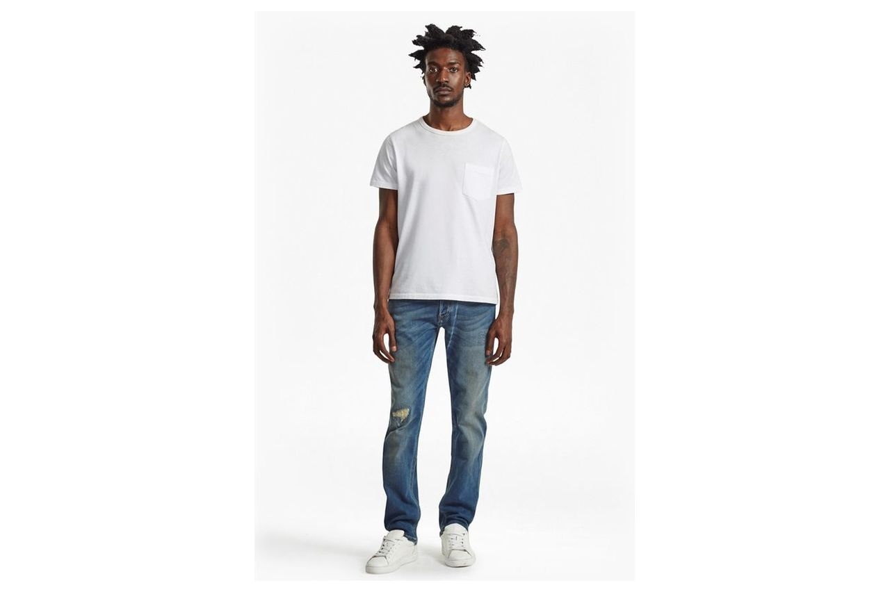 Plaited Stretch Distressed Straight Leg Jeans  - reg dirty repaired knee