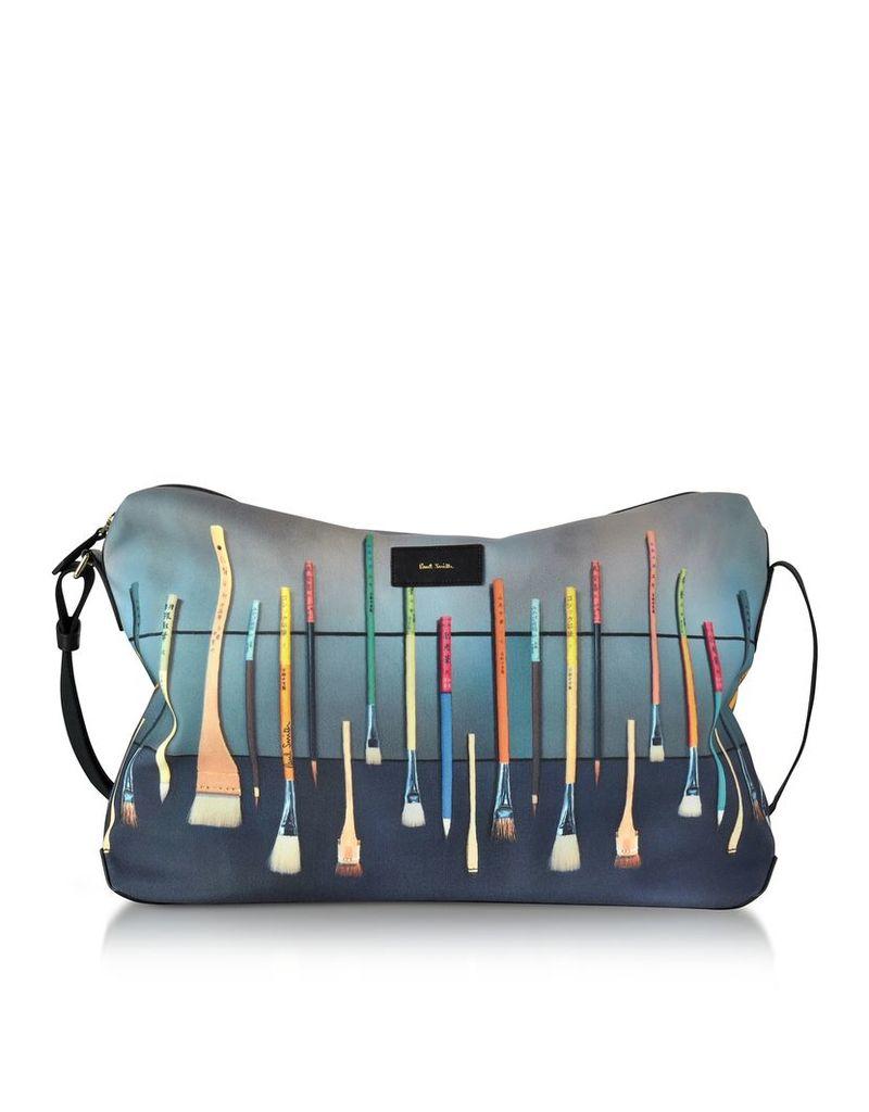 Paul Smith Men's Bags, Blue Canvas Brush Print Messenger Bag