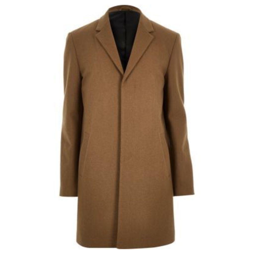 River Island Mens Brown smart wool overcoat
