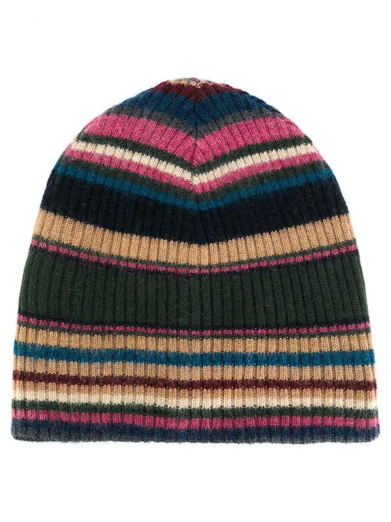 Roberto Collina - striped rib knit beanie - men - Merino - One Size