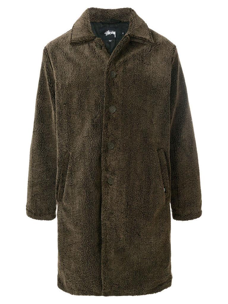 Stussy - faux fur coat - men - Polyester - L, Brown