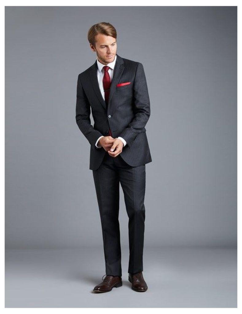 Men's Charcoal Grey Pinstripe Slim Fit Suit - Super 120s Wool