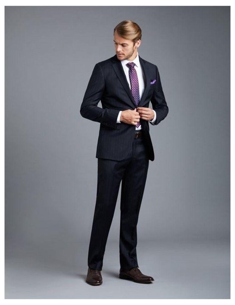 Men's Navy Chalk Stripe Classic Fit Suit  - Super 120s Wool