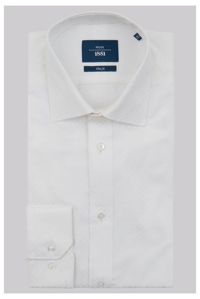 Moss 1851 Slim Fit White Single Cuff Jacquard Spot Shirt