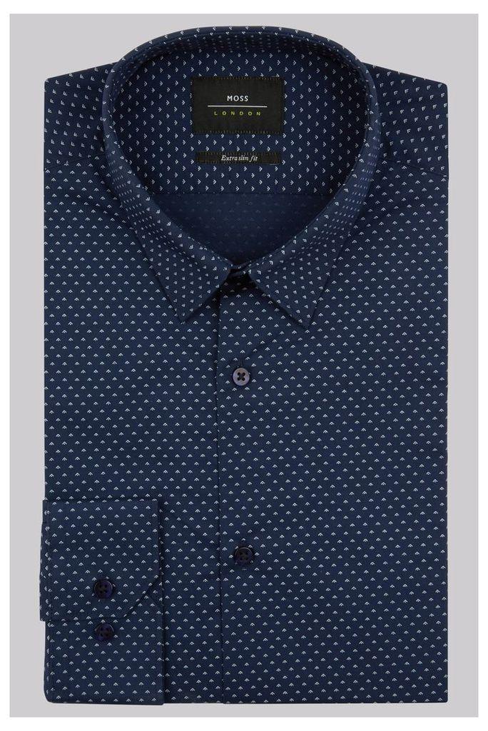 Moss London Extra Slim Fit Navy Single Cuff Geo Print Shirt